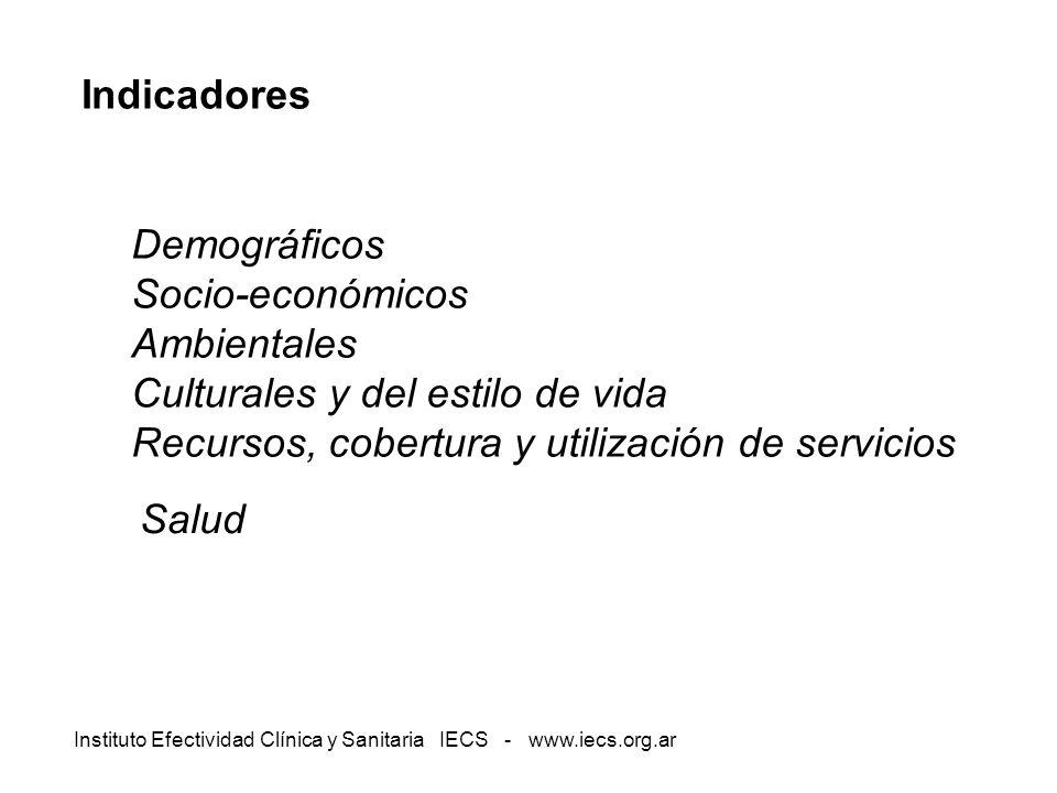 Instituto Efectividad Clínica y Sanitaria IECS - www.iecs.org.ar Indicadores Demográficos Socio-económicos Ambientales Culturales y del estilo de vida