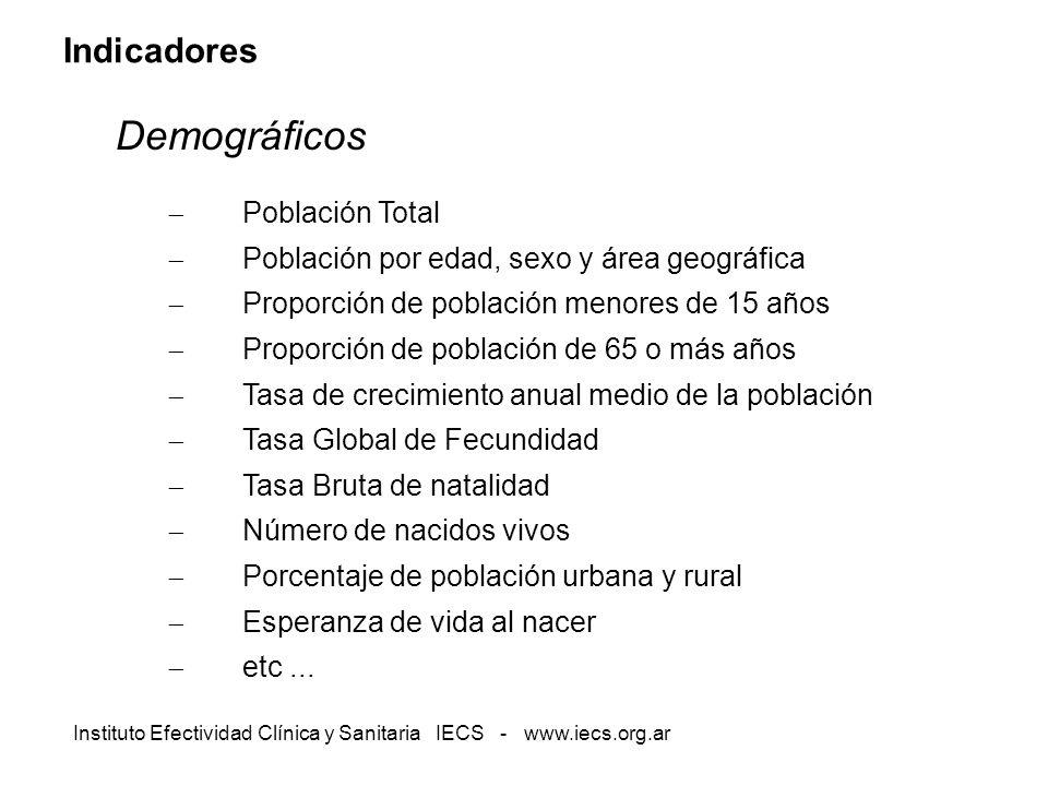 Instituto Efectividad Clínica y Sanitaria IECS - www.iecs.org.ar Indicadores Demográficos Población Total Población por edad, sexo y área geográfica P