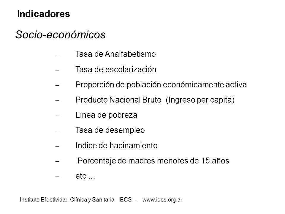 Instituto Efectividad Clínica y Sanitaria IECS - www.iecs.org.ar Indicadores Socio-económicos Tasa de Analfabetismo Tasa de escolarización Proporción