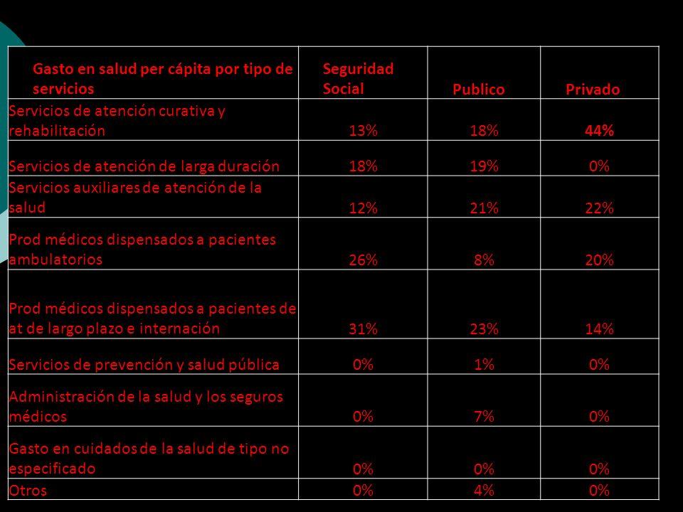 Gasto en salud per cápita por tipo de servicios Seguridad SocialPublicoPrivado Servicios de atención curativa y rehabilitación13%18%44% Servicios de atención de larga duración18%19%0% Servicios auxiliares de atención de la salud12%21%22% Prod médicos dispensados a pacientes ambulatorios26%8%20% Prod médicos dispensados a pacientes de at de largo plazo e internación31%23%14% Servicios de prevención y salud pública0%1%0% Administración de la salud y los seguros médicos0%7%0% Gasto en cuidados de la salud de tipo no especificado0% Otros0%4%0%