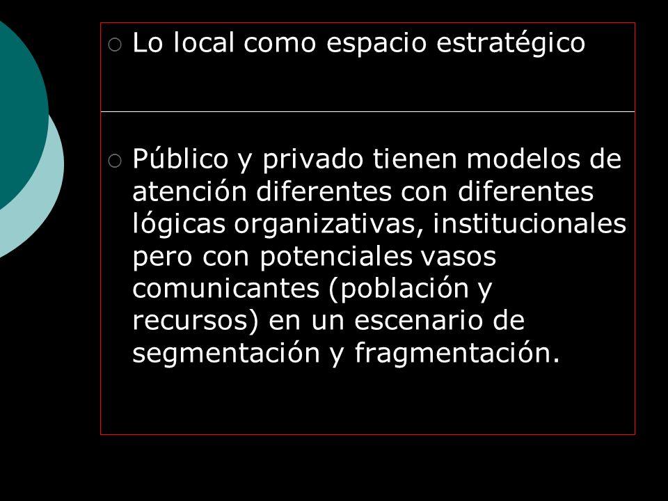 Lo local como espacio estratégico Público y privado tienen modelos de atención diferentes con diferentes lógicas organizativas, institucionales pero con potenciales vasos comunicantes (población y recursos) en un escenario de segmentación y fragmentación.