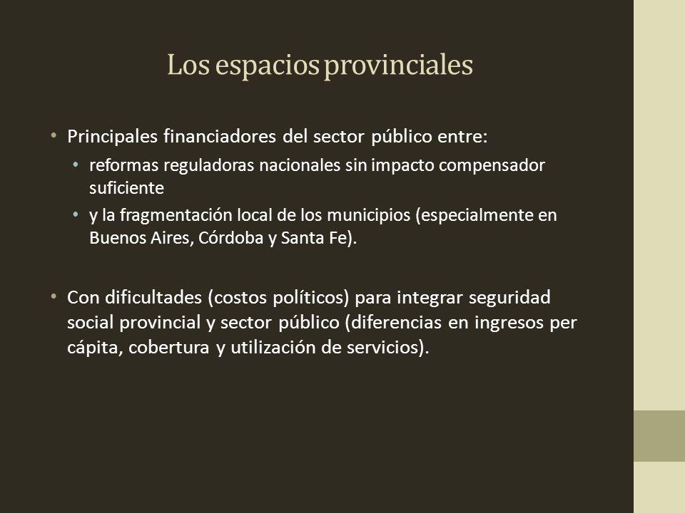 Los espacios provinciales Con dificultades (costos políticos) para integrar seguridad social provincial y sector público (diferencias en ingresos per cápita, cobertura y utilización de servicios).
