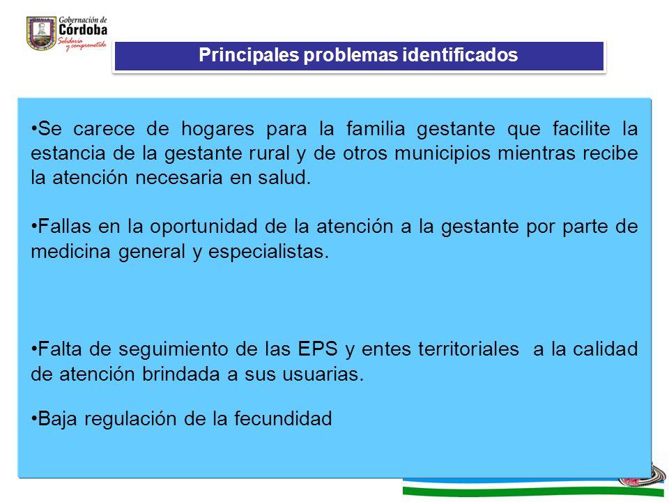 Principales problemas identificados Se carece de hogares para la familia gestante que facilite la estancia de la gestante rural y de otros municipios