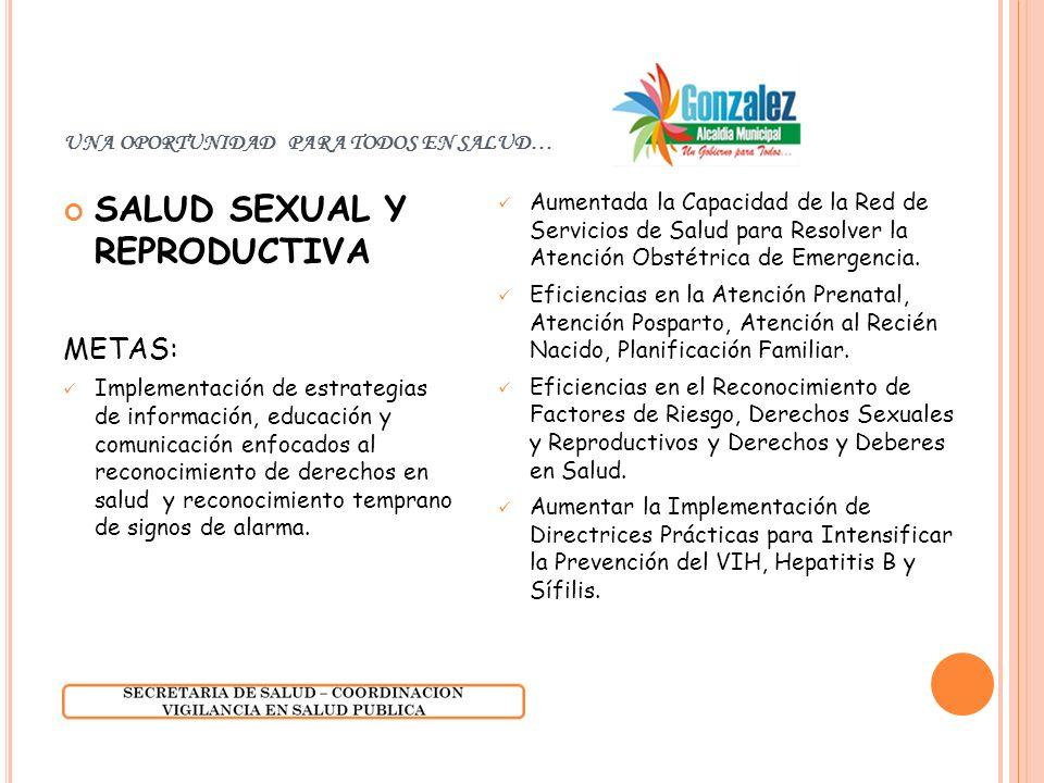 UNA OPORTUNIDAD PARA TODOS EN SALUD… SALUD SEXUAL Y REPRODUCTIVA METAS: Implementación de estrategias de información, educación y comunicación enfocad