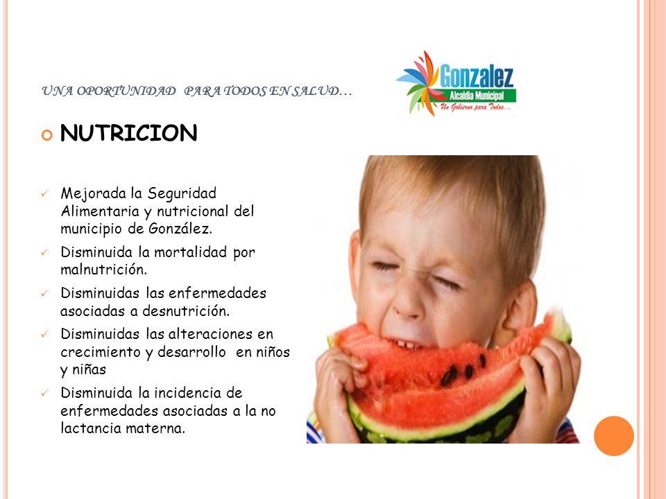 UNA OPORTUNIDAD PARA TODOS EN SALUD… NUTRICION Mejorada la Seguridad Alimentaria y nutricional del municipio de González. Disminuida la mortalidad por