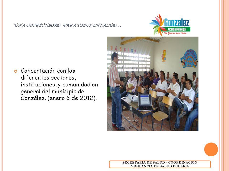 UNA OPORTUNIDAD PARA TODOS EN SALUD… Concertación con los diferentes sectores, instituciones, y comunidad en general del municipio de González. (enero