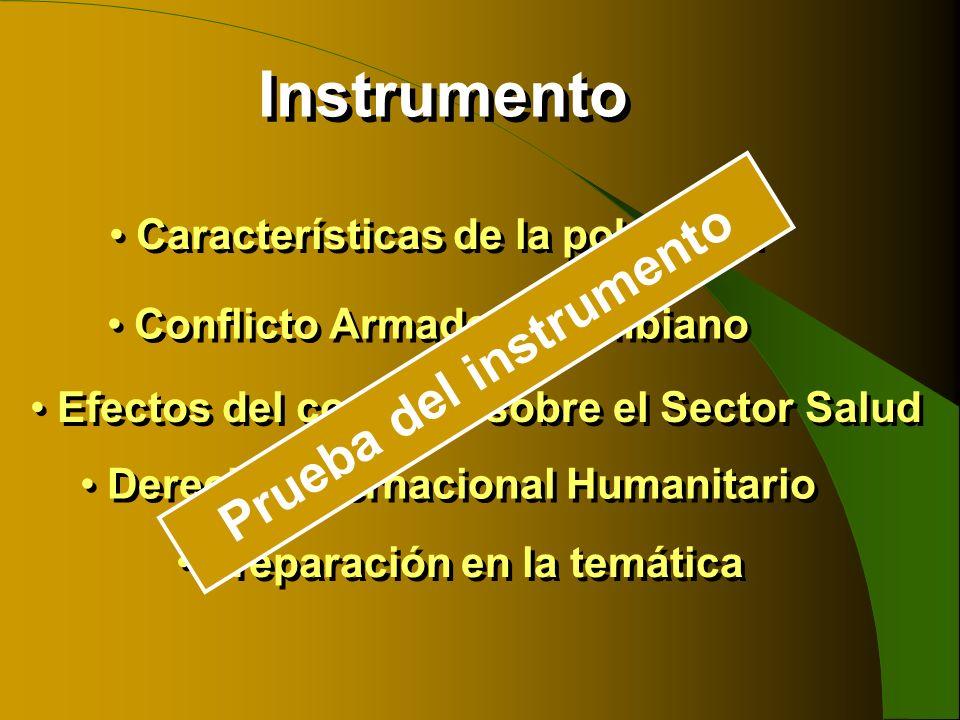 Instrumento Efectos del conflicto sobre el Sector Salud Características de la población Conflicto Armado Colombiano Derecho Internacional Humanitario