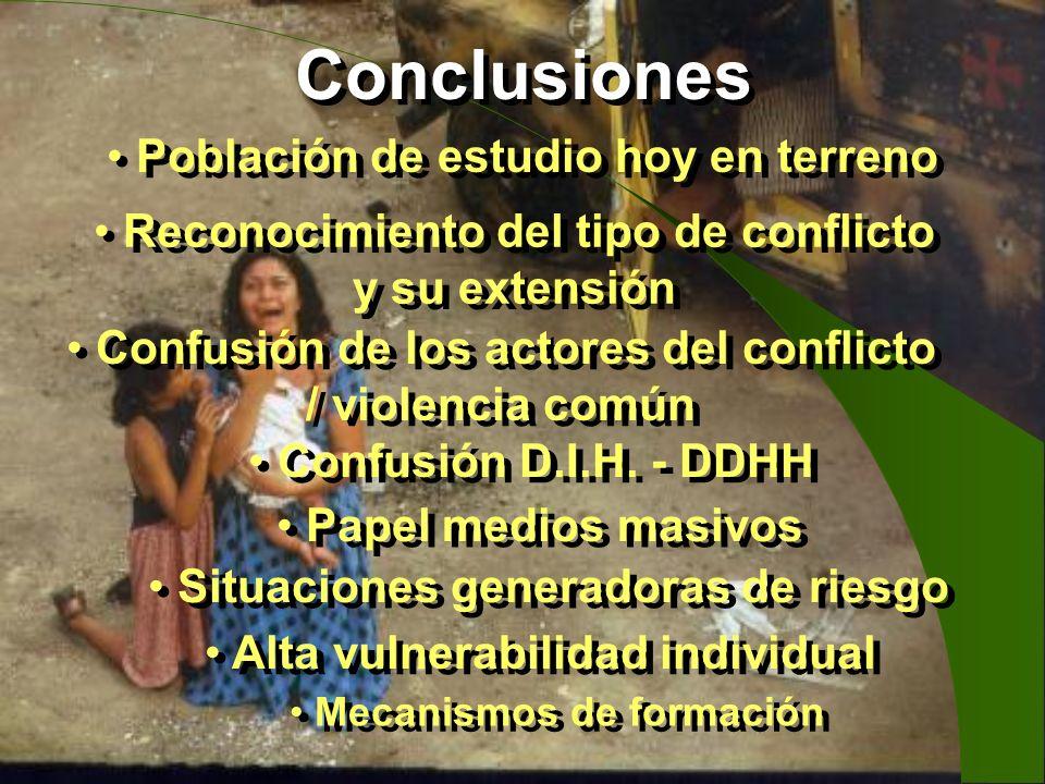 Conclusiones Población de estudio hoy en terreno Reconocimiento del tipo de conflicto y su extensión Confusión de los actores del conflicto / violenci