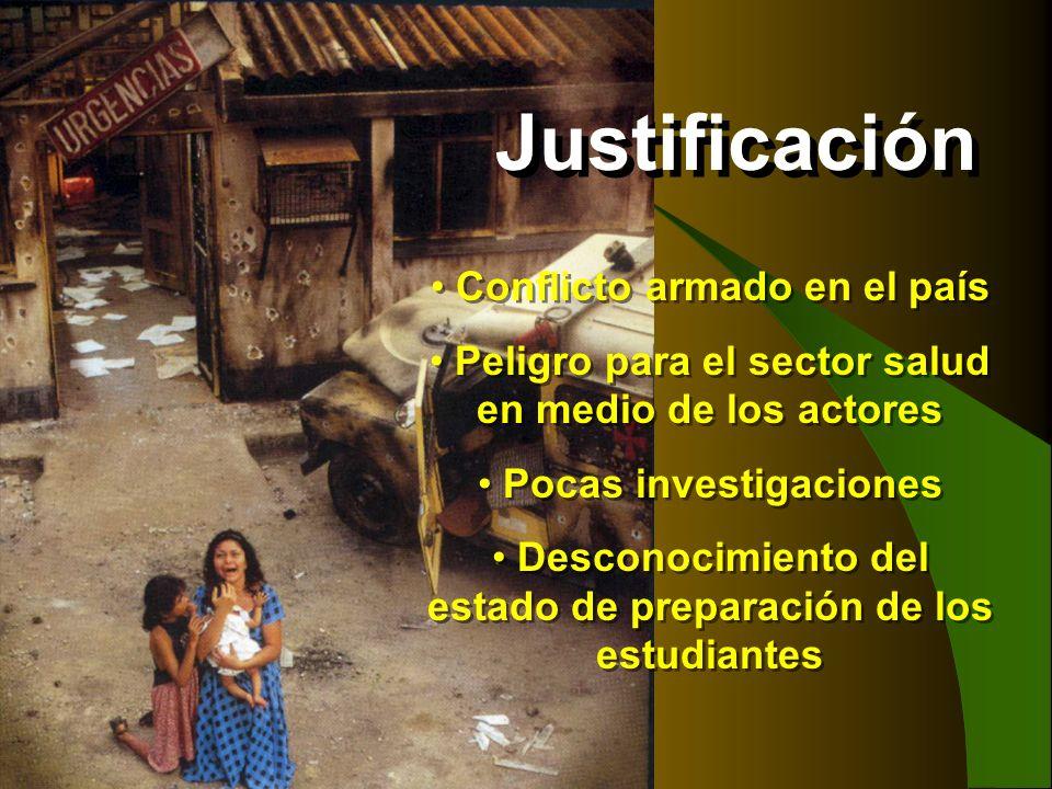 Conflicto armado en el país Peligro para el sector salud en medio de los actores Pocas investigaciones Desconocimiento del estado de preparación de lo