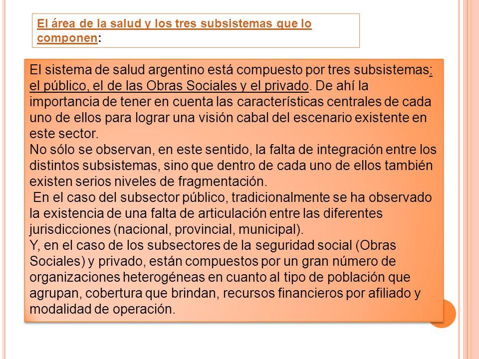 El área de la salud y los tres subsistemas que lo componenEl área de la salud y los tres subsistemas que lo componen: El sistema de salud argentino es