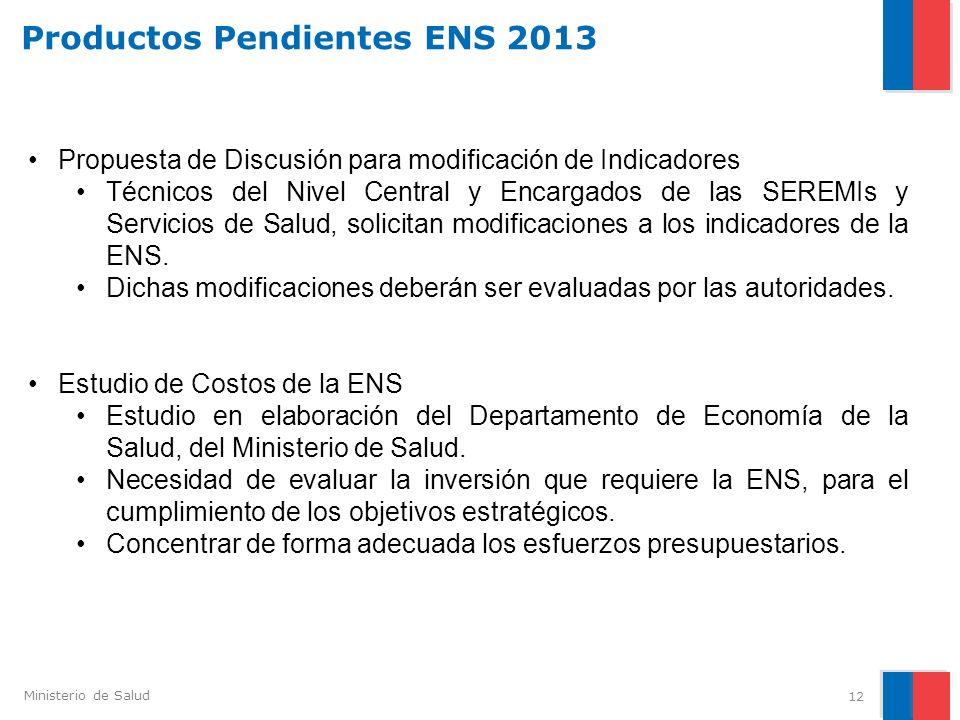Ministerio de Salud 12 Productos Pendientes ENS 2013 Propuesta de Discusión para modificación de Indicadores Técnicos del Nivel Central y Encargados d