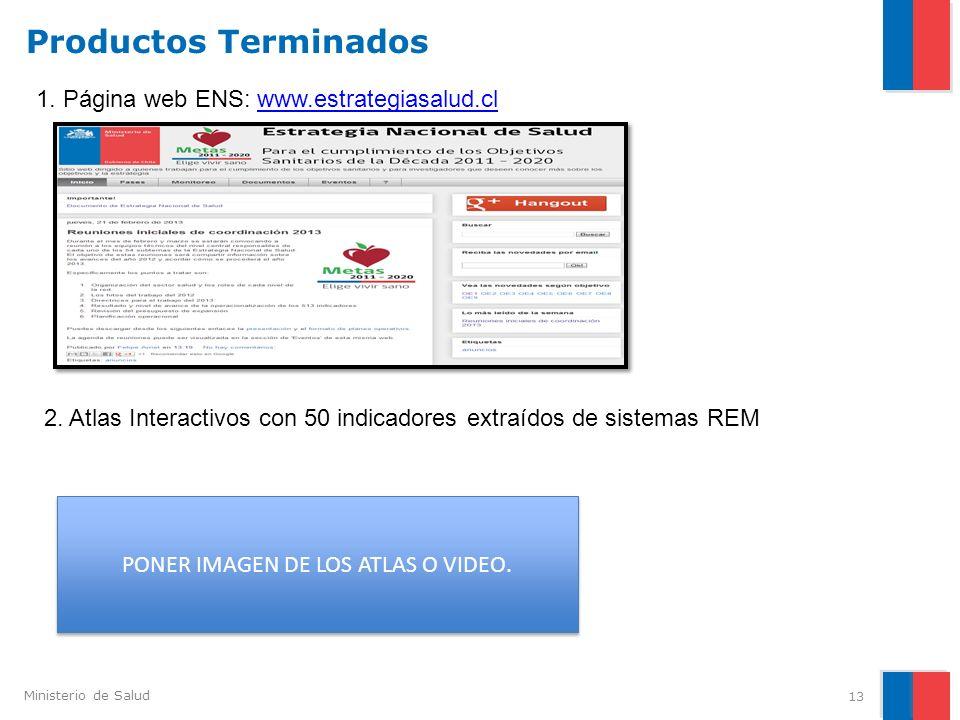 Ministerio de Salud Productos Terminados 13 1. Página web ENS: www.estrategiasalud.clwww.estrategiasalud.cl 2. Atlas Interactivos con 50 indicadores e