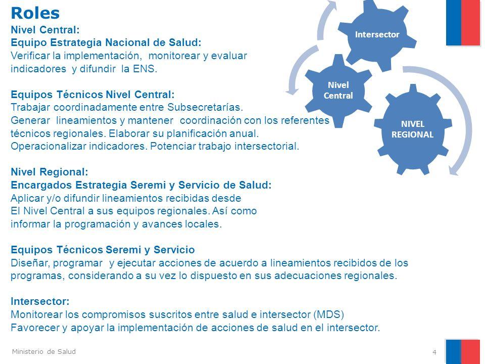Ministerio de Salud Roles 4 Nivel Central: Equipo Estrategia Nacional de Salud: Verificar la implementación, monitorear y evaluar indicadores y difund