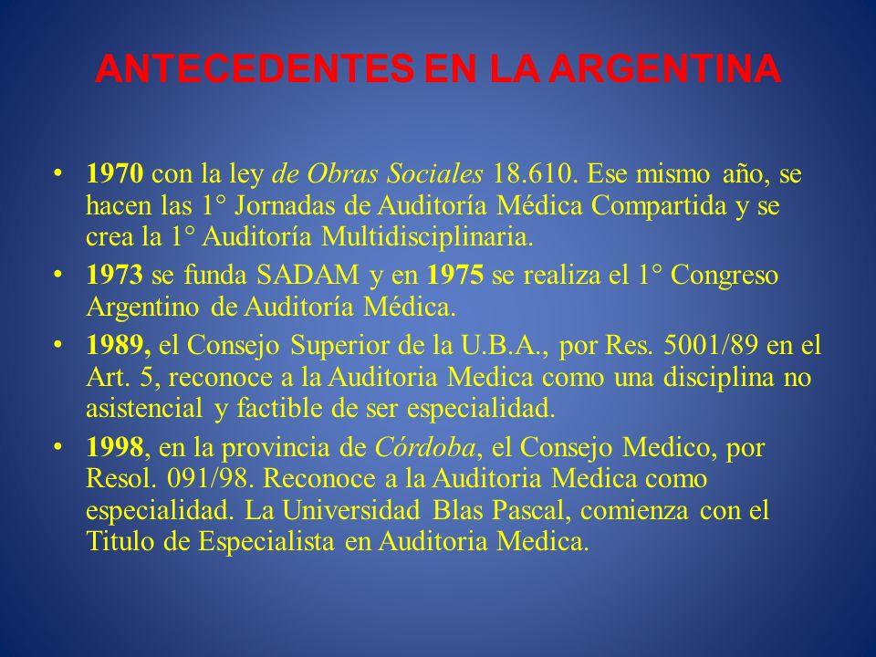 ANTECEDENTES EN LA ARGENTINA 1970 con la ley de Obras Sociales 18.610. Ese mismo año, se hacen las 1° Jornadas de Auditoría Médica Compartida y se cre