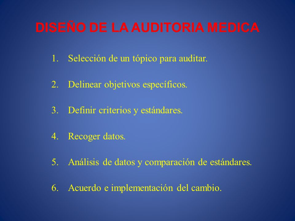 DISEÑO DE LA AUDITORIA MEDICA 1.Selección de un tópico para auditar. 2.Delinear objetivos específicos. 3.Definir criterios y estándares. 4.Recoger dat
