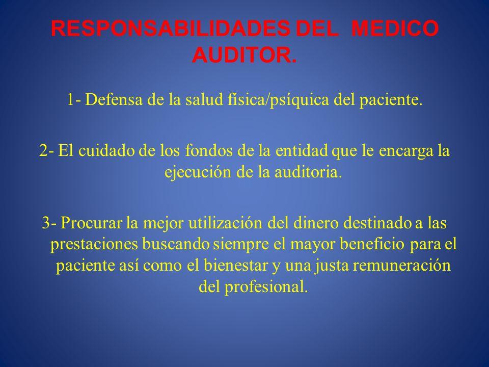 RESPONSABILIDADES DEL MEDICO AUDITOR. 1- Defensa de la salud física/psíquica del paciente. 2- El cuidado de los fondos de la entidad que le encarga la