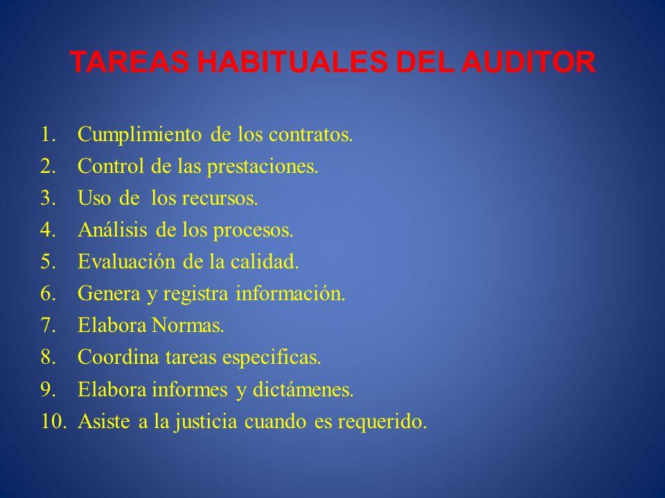 TAREAS HABITUALES DEL AUDITOR 1.Cumplimiento de los contratos. 2.Control de las prestaciones. 3.Uso de los recursos. 4.Análisis de los procesos. 5.Eva