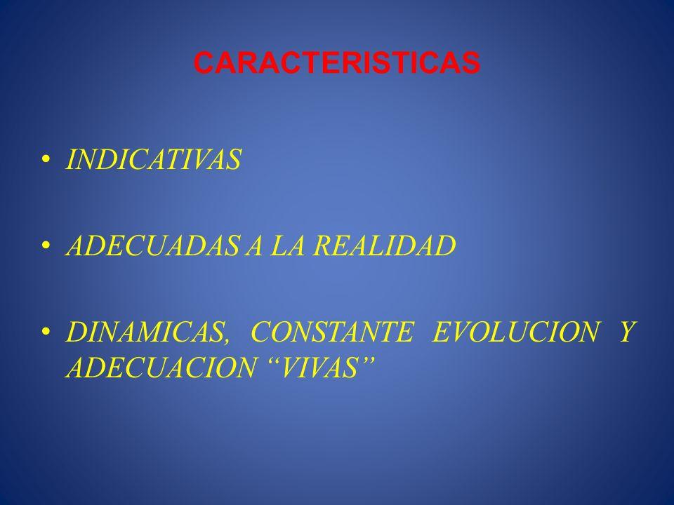 CARACTERISTICAS INDICATIVAS ADECUADAS A LA REALIDAD DINAMICAS, CONSTANTE EVOLUCION Y ADECUACION VIVAS
