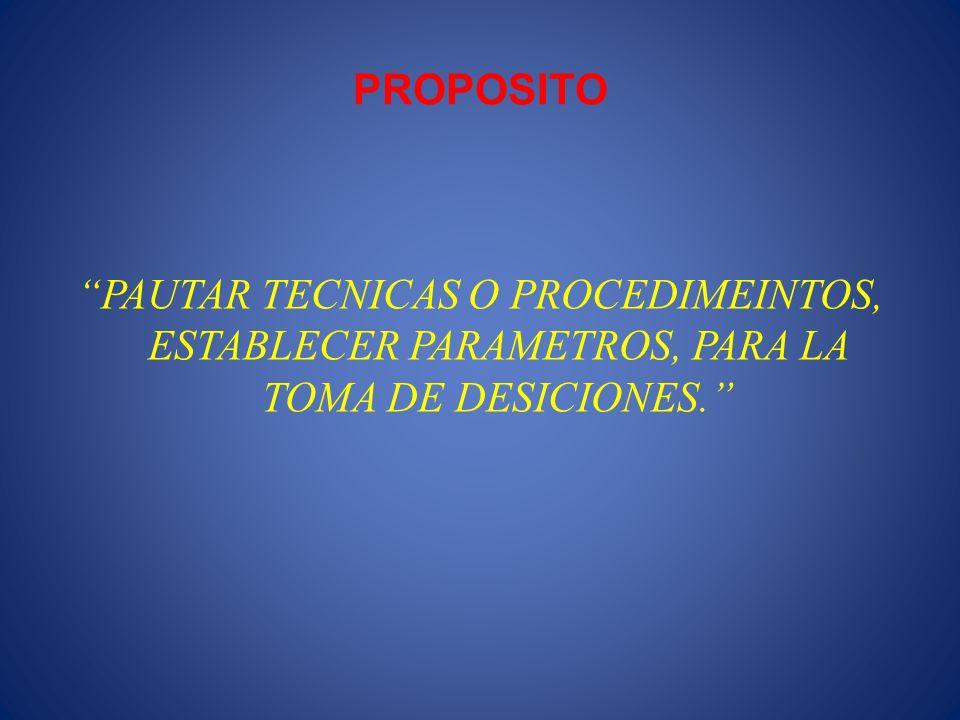 PROPOSITO PAUTAR TECNICAS O PROCEDIMEINTOS, ESTABLECER PARAMETROS, PARA LA TOMA DE DESICIONES.