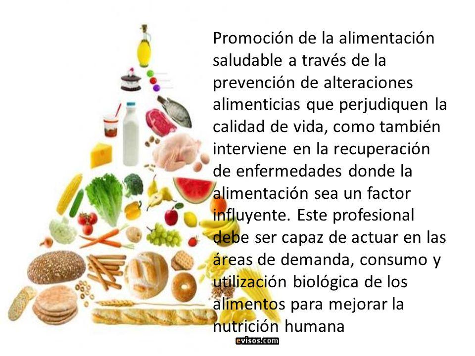 Promoción de la alimentación saludable a través de la prevención de alteraciones alimenticias que perjudiquen la calidad de vida, como también intervi