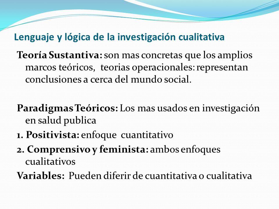 Lenguaje y lógica de la investigación cualitativa Teoría Sustantiva: son mas concretas que los amplios marcos teóricos, teorias operacionales: represe