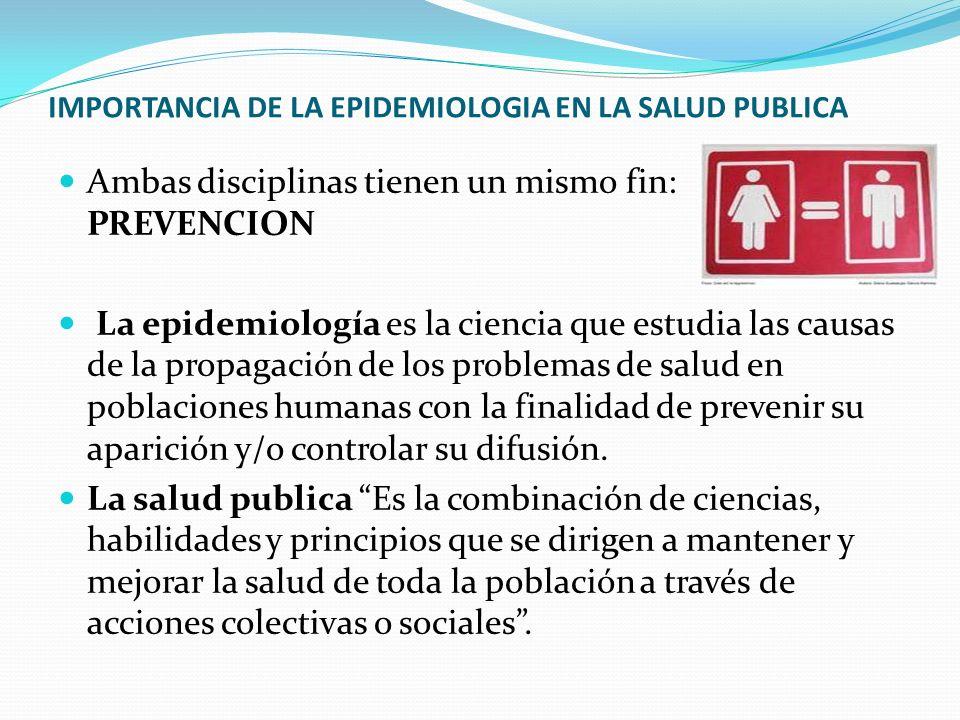 IMPORTANCIA DE LA EPIDEMIOLOGIA EN LA SALUD PUBLICA Ambas disciplinas tienen un mismo fin: PREVENCION La epidemiología es la ciencia que estudia las c