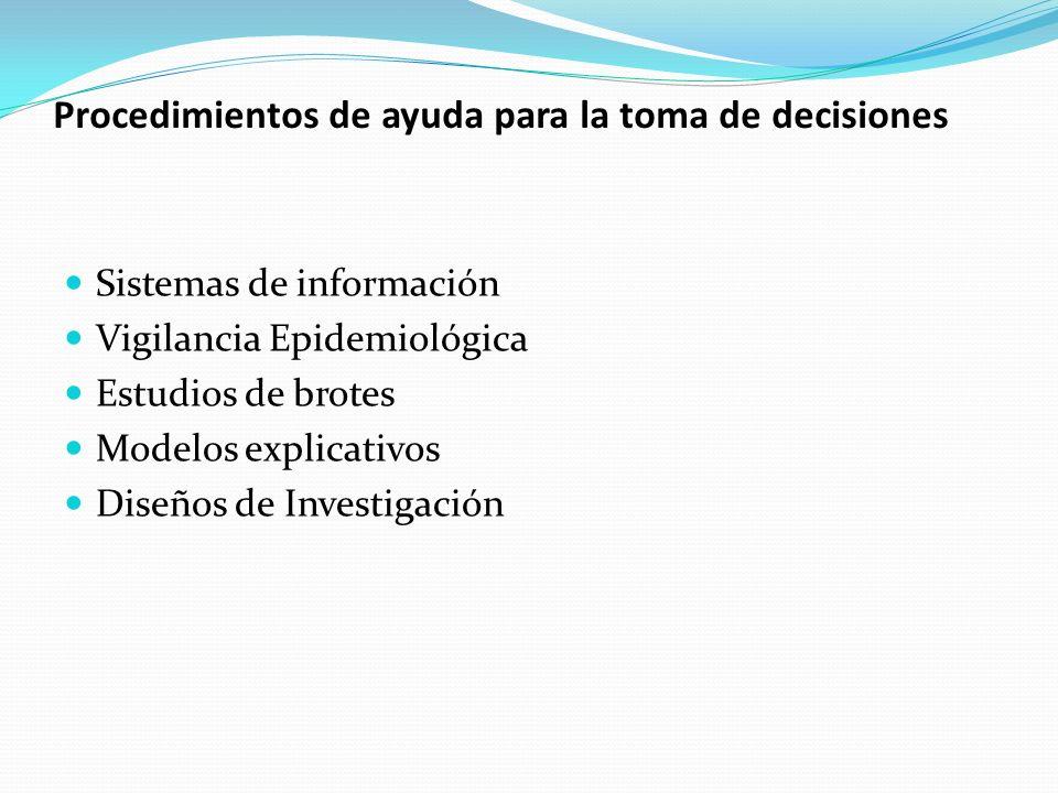 Procedimientos de ayuda para la toma de decisiones Sistemas de información Vigilancia Epidemiológica Estudios de brotes Modelos explicativos Diseños d