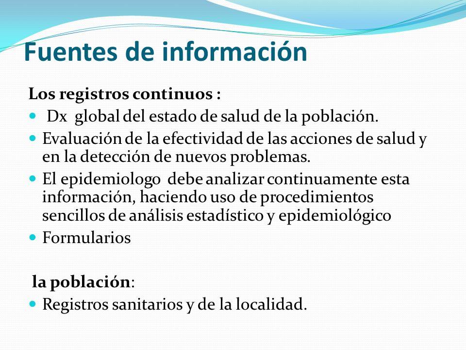 Fuentes de información Los registros continuos : Dx global del estado de salud de la población. Evaluación de la efectividad de las acciones de salud