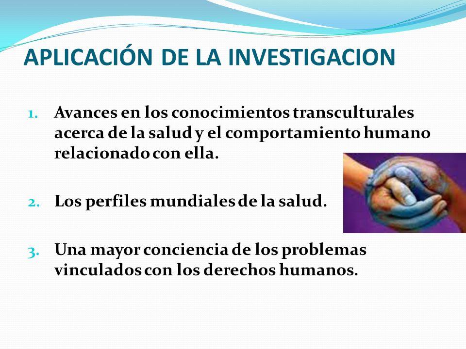APLICACIÓN DE LA INVESTIGACION 1. Avances en los conocimientos transculturales acerca de la salud y el comportamiento humano relacionado con ella. 2.