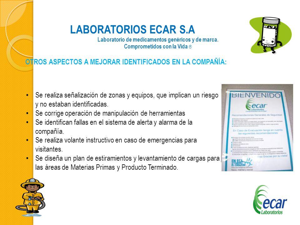 LABORATORIOS ECAR S.A Laboratorio de medicamentos genéricos y de marca. Comprometidos con la Vida ® OTROS ASPECTOS A MEJORAR IDENTIFICADOS EN LA COMPA