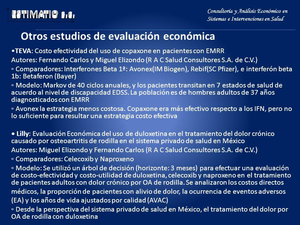 Otros estudios de evaluación económica Consultoría y Análisis Económico en Sistemas e Intervenciones en Salud TEVA: Costo efectividad del uso de copax