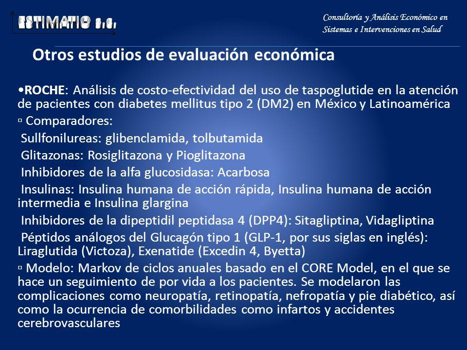 Otros estudios de evaluación económica Consultoría y Análisis Económico en Sistemas e Intervenciones en Salud ROCHE: Análisis de costo-efectividad del