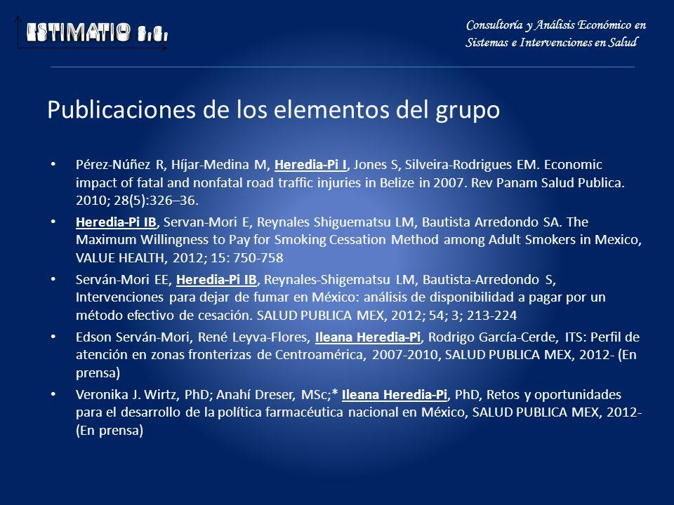 Publicaciones de los elementos del grupo Pérez-Núñez R, Híjar-Medina M, Heredia-Pi I, Jones S, Silveira-Rodrigues EM. Economic impact of fatal and non
