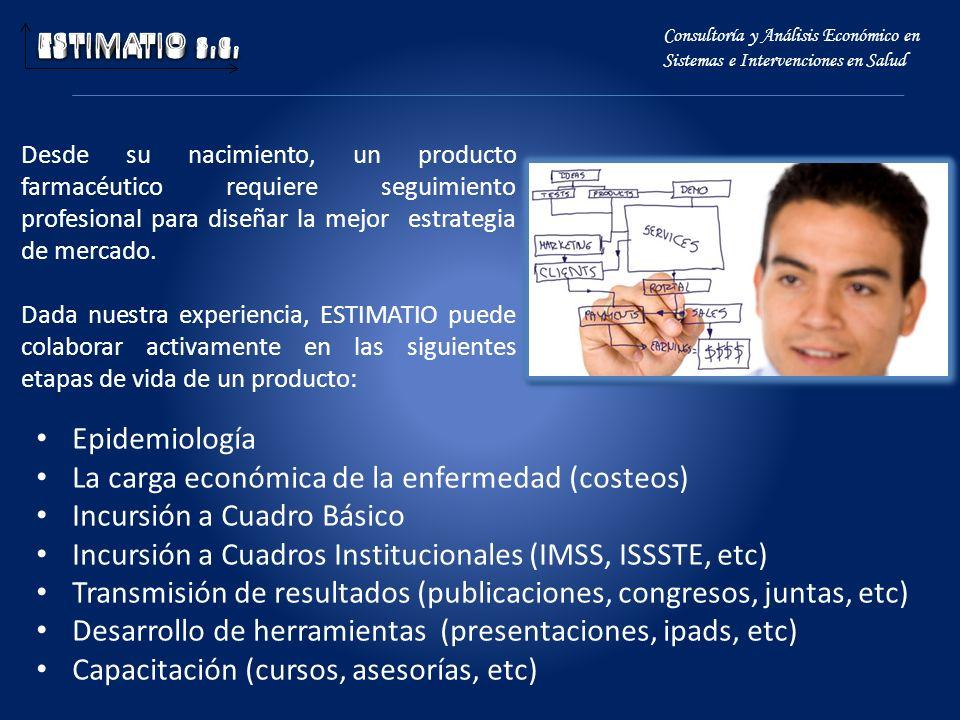 Epidemiología La carga económica de la enfermedad (costeos) Incursión a Cuadro Básico Incursión a Cuadros Institucionales (IMSS, ISSSTE, etc) Transmis