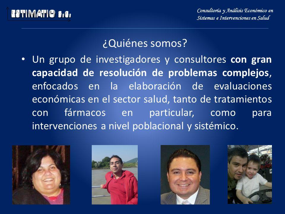 ¿Quiénes somos? Un grupo de investigadores y consultores con gran capacidad de resolución de problemas complejos, enfocados en la elaboración de evalu
