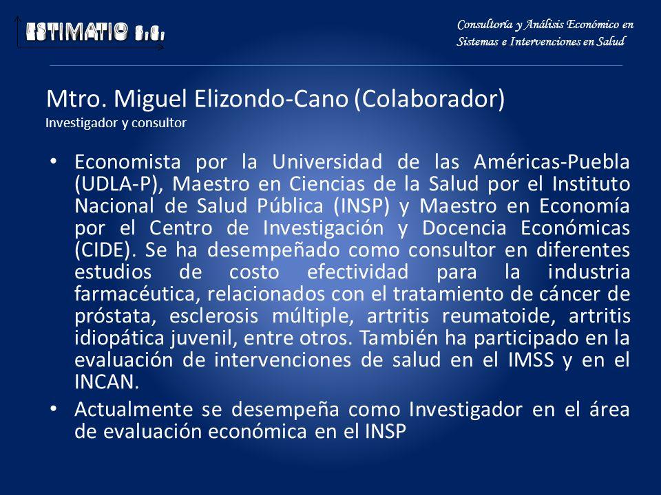 Mtro. Miguel Elizondo-Cano (Colaborador) Investigador y consultor Economista por la Universidad de las Américas-Puebla (UDLA-P), Maestro en Ciencias d