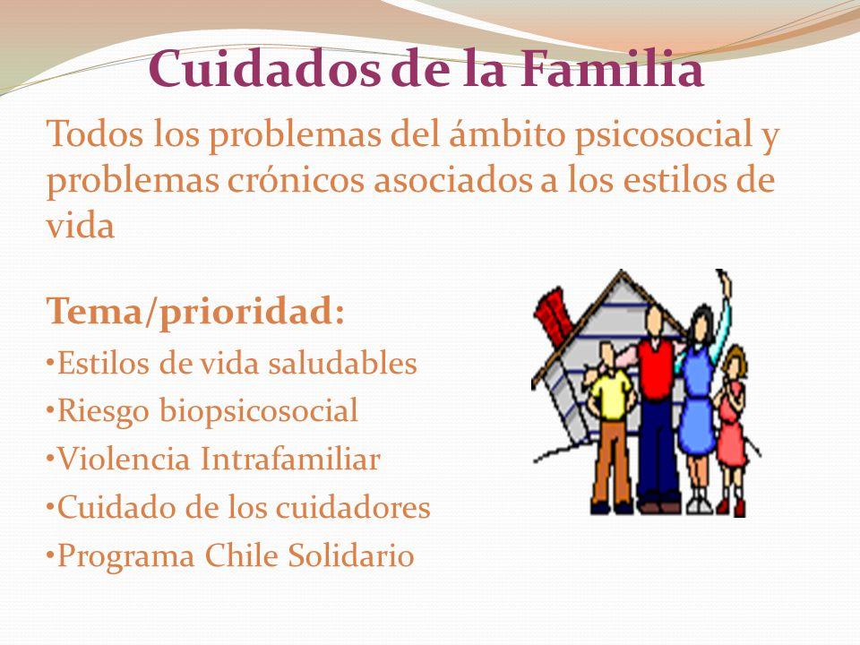 Cuidados de la Familia Todos los problemas del ámbito psicosocial y problemas crónicos asociados a los estilos de vida Tema/prioridad: Estilos de vida saludables Riesgo biopsicosocial Violencia Intrafamiliar Cuidado de los cuidadores Programa Chile Solidario