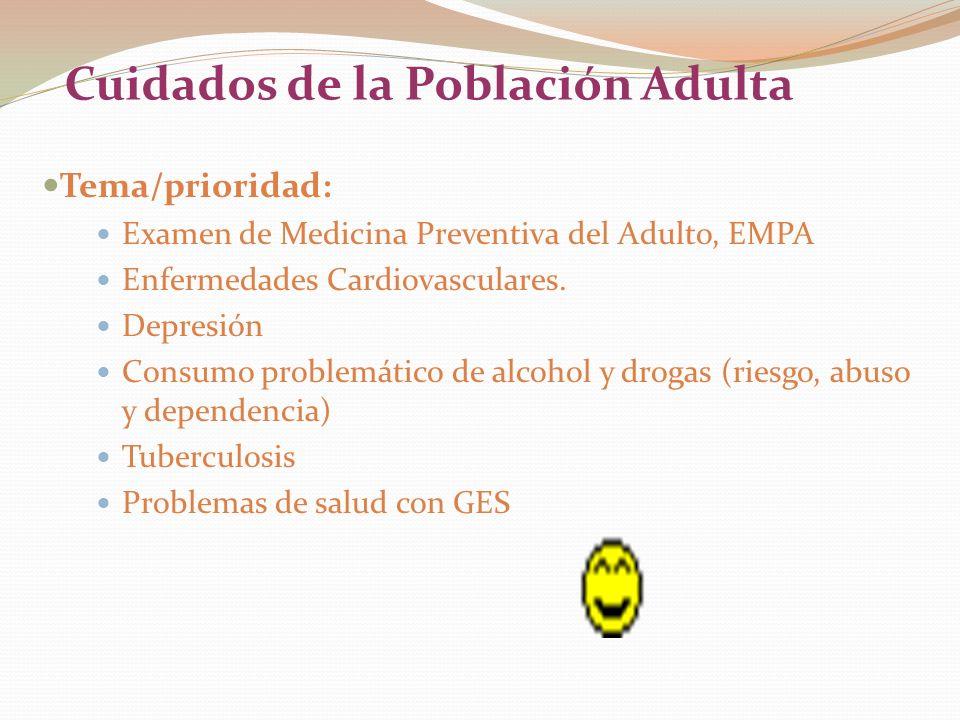 Cuidados de la Población Adulta Tema/prioridad: Examen de Medicina Preventiva del Adulto, EMPA Enfermedades Cardiovasculares. Depresión Consumo proble