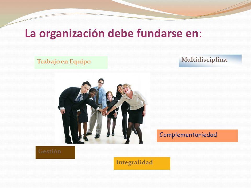 La organización debe fundarse en: Complementariedad Trabajo en Equipo Gestión Multidisciplina Integralidad