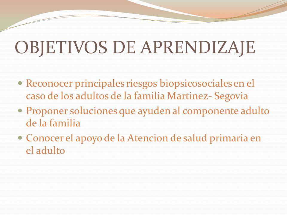 OBJETIVOS DE APRENDIZAJE Reconocer principales riesgos biopsicosociales en el caso de los adultos de la familia Martinez- Segovia Proponer soluciones que ayuden al componente adulto de la familia Conocer el apoyo de la Atencion de salud primaria en el adulto