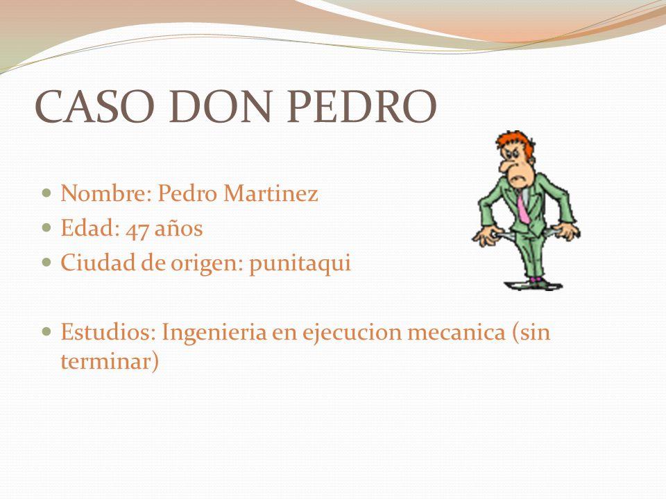 CASO DON PEDRO Nombre: Pedro Martinez Edad: 47 años Ciudad de origen: punitaqui Estudios: Ingenieria en ejecucion mecanica (sin terminar)