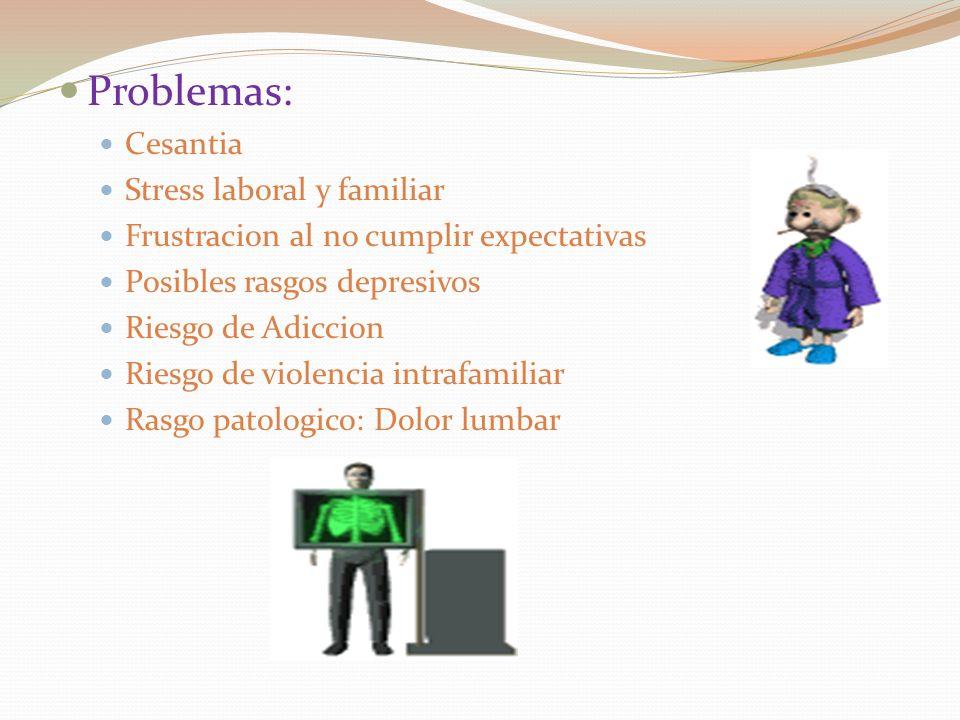Problemas: Cesantia Stress laboral y familiar Frustracion al no cumplir expectativas Posibles rasgos depresivos Riesgo de Adiccion Riesgo de violencia