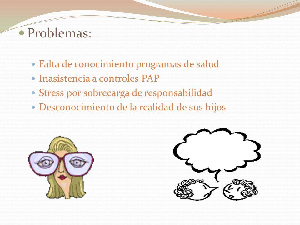 Problemas: Falta de conocimiento programas de salud Inasistencia a controles PAP Stress por sobrecarga de responsabilidad Desconocimiento de la realidad de sus hijos