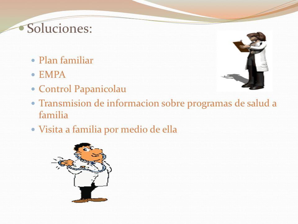 Soluciones: Plan familiar EMPA Control Papanicolau Transmision de informacion sobre programas de salud a familia Visita a familia por medio de ella