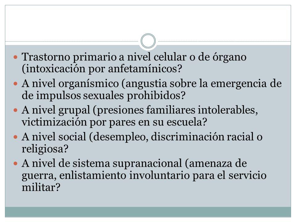 Trastorno primario a nivel celular o de órgano (intoxicación por anfetamínicos? A nivel organísmico (angustia sobre la emergencia de de impulsos sexua