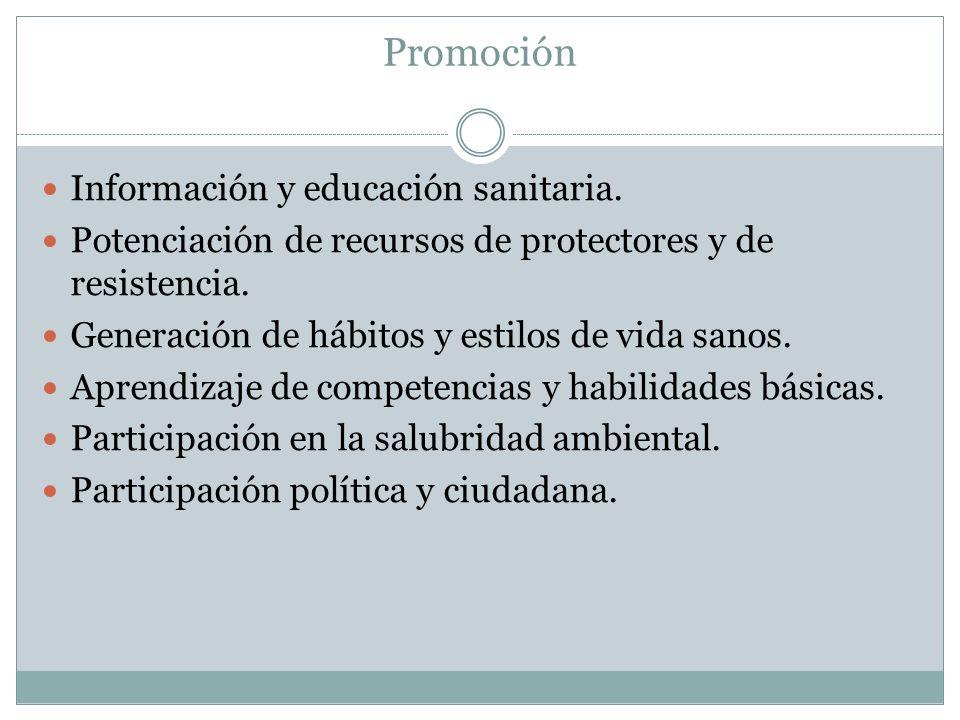 Promoción Información y educación sanitaria. Potenciación de recursos de protectores y de resistencia. Generación de hábitos y estilos de vida sanos.