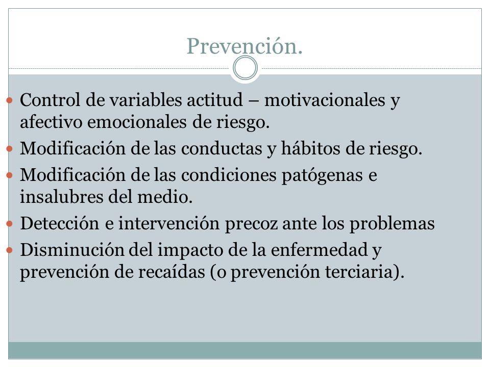 Prevención. Control de variables actitud – motivacionales y afectivo emocionales de riesgo. Modificación de las conductas y hábitos de riesgo. Modific