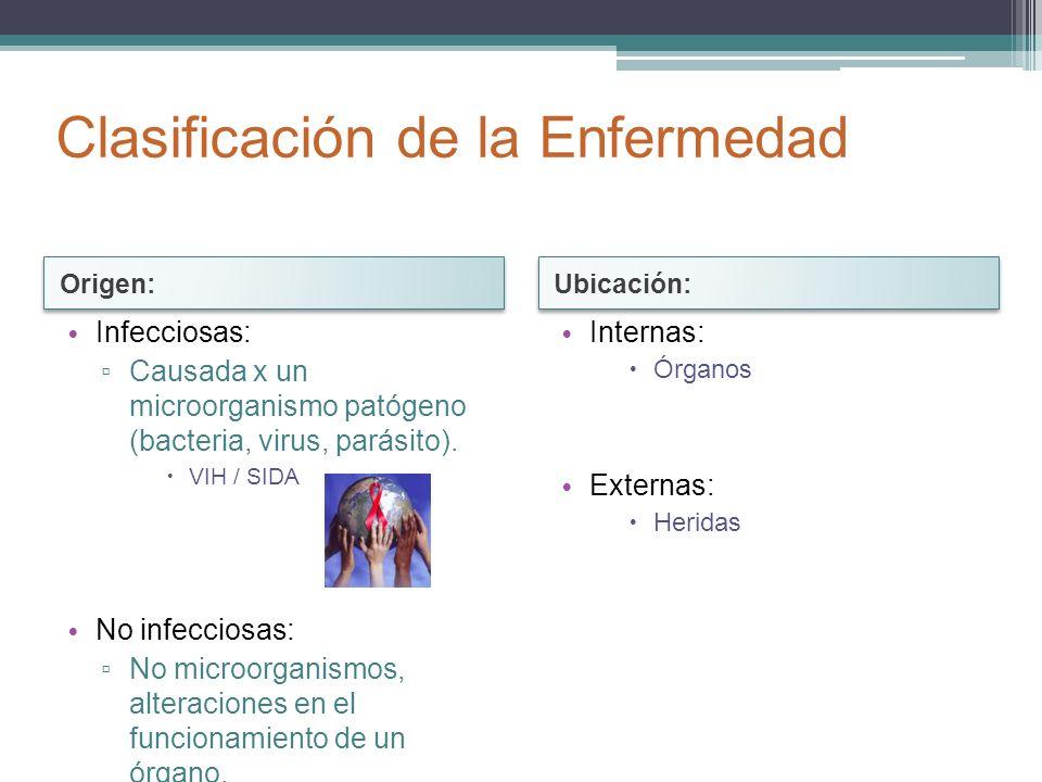 Infecciosas: Causada x un microorganismo patógeno (bacteria, virus, parásito). VIH / SIDA No infecciosas: No microorganismos, alteraciones en el funci
