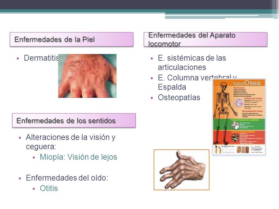 Enfermedades de la Piel Enfermedades del Aparato locomotor Dermatitis E. sistémicas de las articulaciones E. Columna vertebral y Espalda Osteopatías E