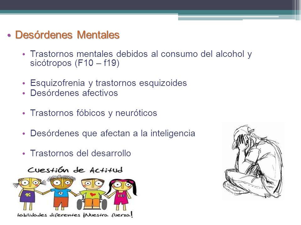 Trastornos mentales debidos al consumo del alcohol y sicótropos (F10 – f19) Esquizofrenia y trastornos esquizoides Desórdenes afectivos Trastornos fób